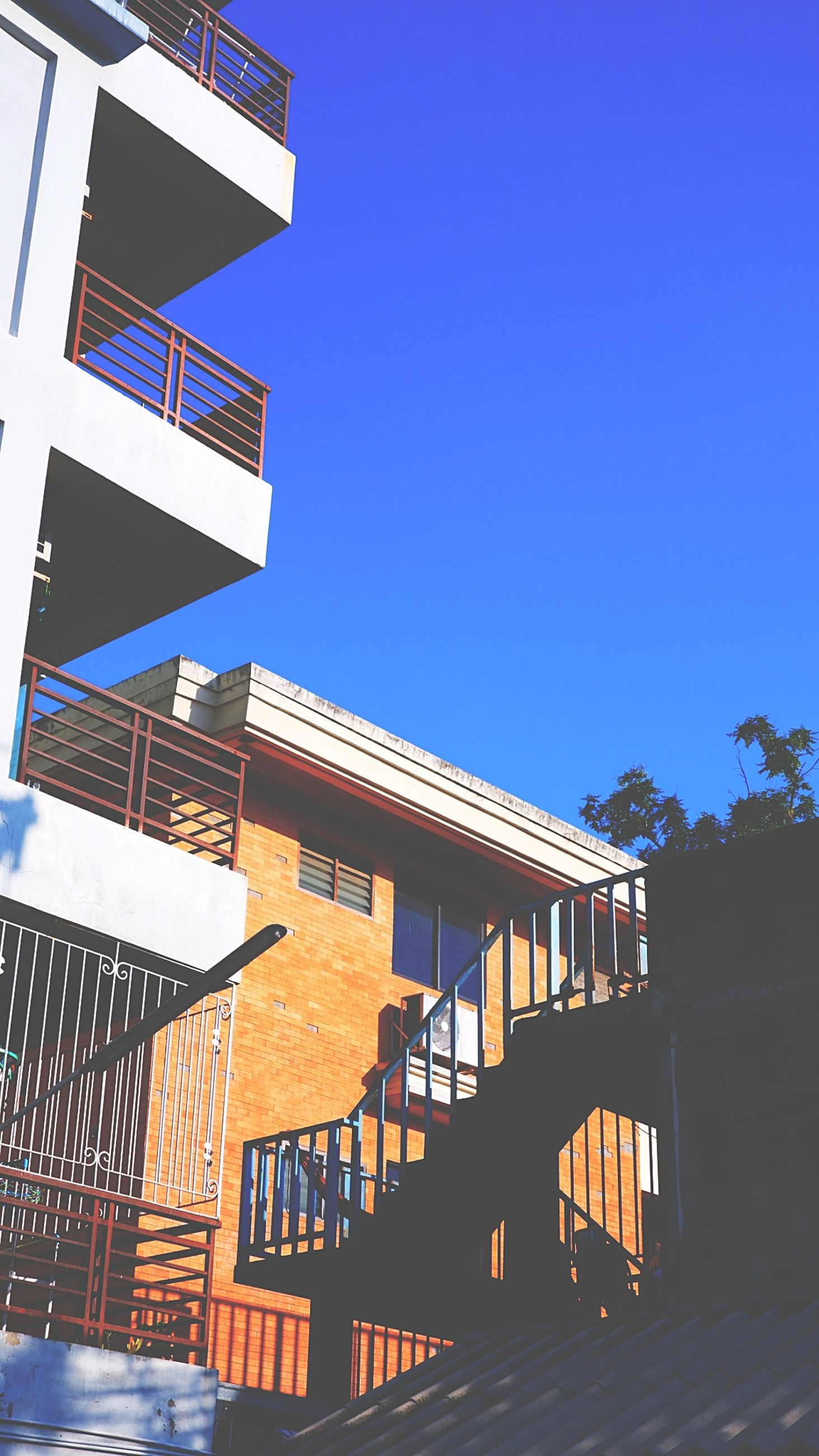 architecture, built structure, building exterior, sky, facade, house, building, clear sky, blue, nature, staircase, no people, city, sunny, railing, day, sunlight, outdoors, residential district, steps and staircases, residential area, low angle view, home