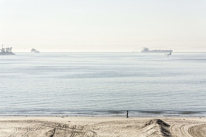 Beach Horizon Over Water Sea Silhouette Tanker Tranquil Scene Tranquility Water