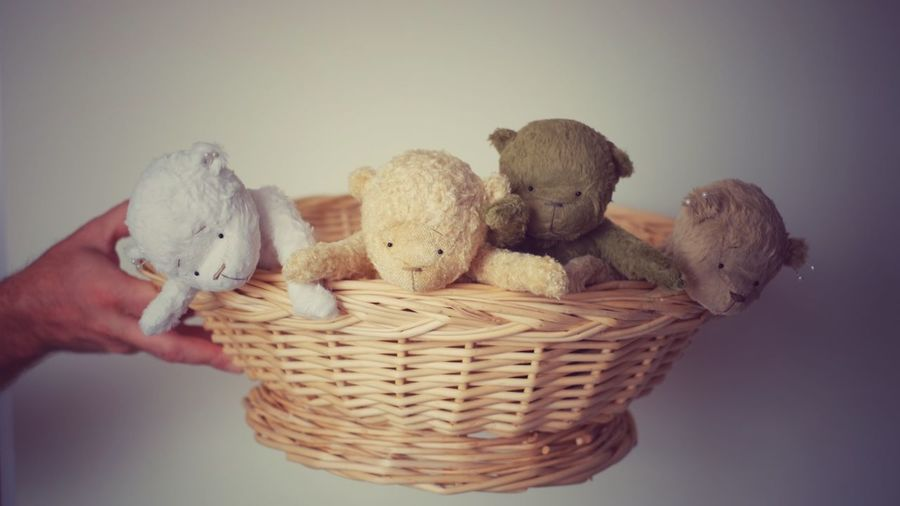 Cropped hand holding teddy bears in wicker basket against wall