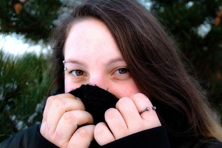 Natural Natural Beauty Natural Skin Piercing Portrait Looking At Camera Headshot Human Eye Human Face Tree Front View Close-up Warm Clothing Winter Coat