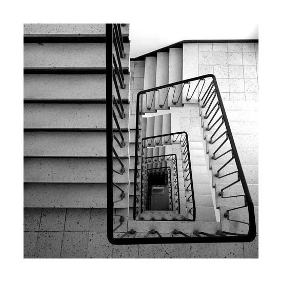 Staircase Steps Steps And Staircases Railing Spiral Spiral Stairs Architecture Stairs Built Structure Spiral Staircase Hand Rail No People Day Indoor City Urban Urbanphotography Black And White Black And White Photography Blackandwhite Photography Architectural Feature Bw Bw_collection Photography Photo