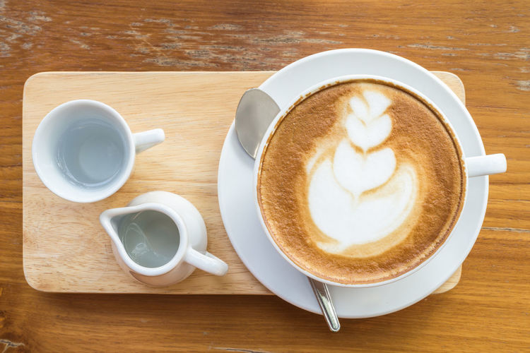 Directly above shot of cappuccino served on table