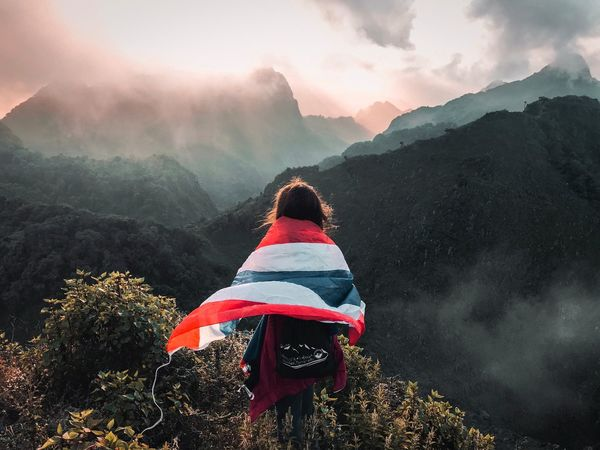 """i see you """"Chiang Dao"""" Sunlight EyeEmNewHere EyeEm Best Shots EyeEm Nature Lover EyeEm Gallery Thailand Thailandtravel Flag Design Nature Light And Shadow Mountain Tree Adventure Fog Rear View Climbing Sitting Cold Temperature Winter Snow Hiking Mountain Peak A New Perspective On Life"""