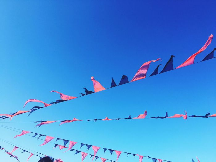 Low angle view of bunting against clear blue sky