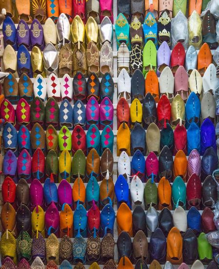 Shoes Coloroftheday Color EyeEm Selects EyeEm Gallery EyeEmNewHere EyeEm Nature Lover EyeEm Best Shots Marakesh Maroc Explore ExploreEverything Travel Vacation Markt Souk Suq Multi Colored Variation Large Group Of Objects Choice In A Row Full Frame Abundance No People Indoors  Backgrounds Close-up Aerosol Can Day