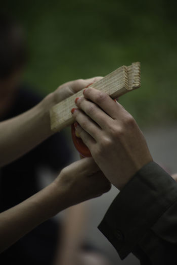 Cropped hands holding wood