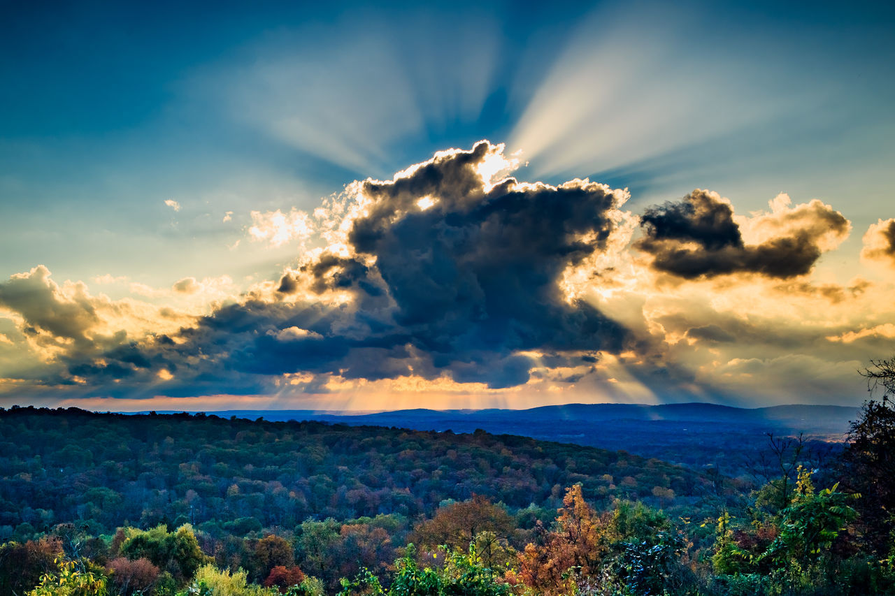 nature, beauty in nature, sky, scenics, tranquility, cloud - sky, tranquil scene, no people, outdoors, sunset, tree, day, landscape, mountain