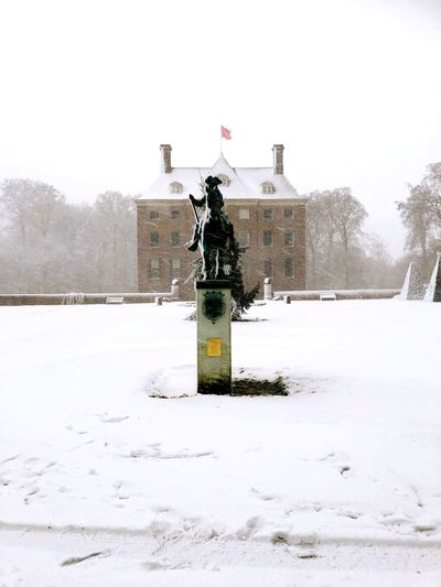 IPhoneography Amerongen Amerongen Castle Snow Cold Temperature Winter Weather White Color No People Day Nature Flag Outdoors Built Structure Building Exterior Sky Architecture