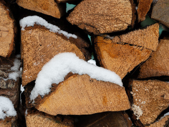 Wood Wooden Wood Billet Timber Blocking Timber Wood Blocking Pile Of Wood Stack Of Wood Firewood Close-up Winter Snow Backgrounds Stack Cold Temperature Nature Day Brown Log Pattern Texture White Heap Stacked Piled Up