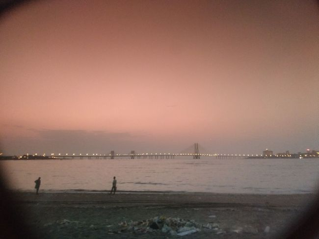 Sea Water Beach Travel Destinations City Sunset Tranquility No People Outdoors Sky Horizon Over Water Architecture Cityscape Nature Bandraworlisealink Bandra Worli Sea Link Illuminated
