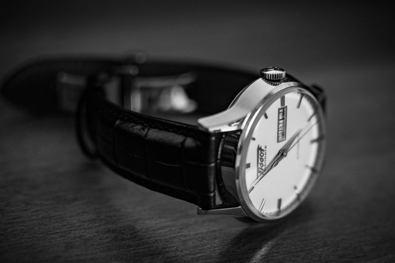 Tissot visodate heritage collection. Tissot Luxurywatch Swisswatch Blankandwhite Coloured Productphotography Watchphotography Automaticwatch Tissotheritagevisodate Visodate Tissotheritagecollection Heritage Heritagecollection Luxury Watch Band Black Time Clock Indoors  Urgency Table