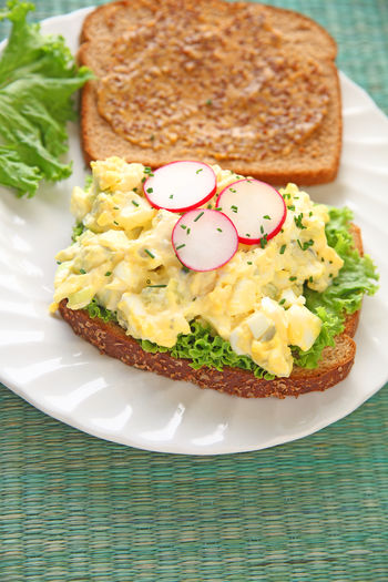 Home Cooking Homemade Food Natural Light Textures Close-up Day Deli Mustard Egg Salad Sandwich Food Food Preparation Freshness Indoors  Lettuce No People Overhead Radishes Ready-to-eat Sandwich Serving Size Studio Shot Vegetable Vertical White Plate Whole Wheat Bread
