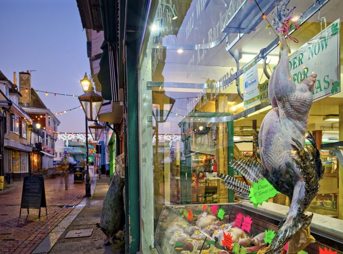 View of market stall at dusk