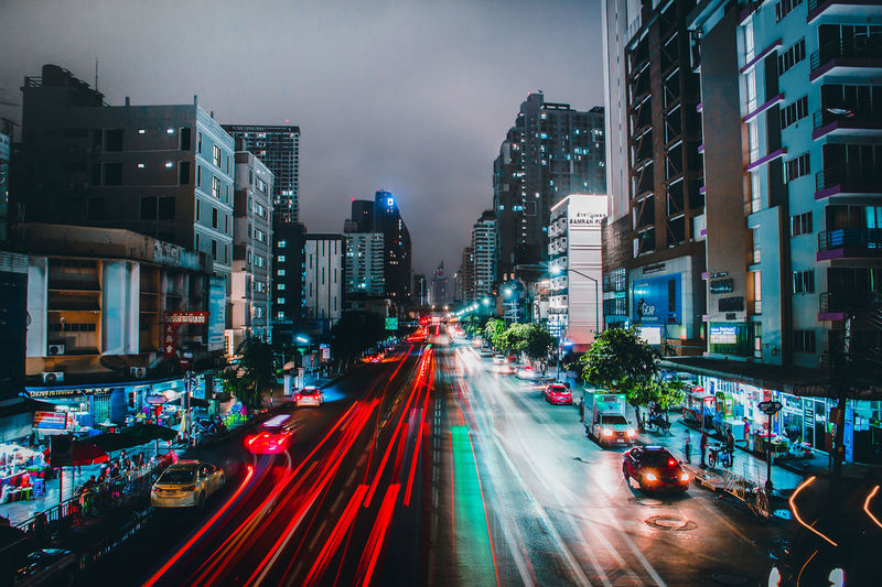 Blurred motion of traffic on city street at night