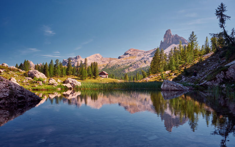 Lago Federa in the Dolomites, Italy Dolomites September Beauty In Nature Day Formation Idyllic Italy Lago Federa Lake Mountain Mountain Range Nature Non-urban Scene Outdoors Plant Reflection Rock Rock - Object Scenics - Nature Sky Tranquil Scene Tranquility Tree Water Waterfront