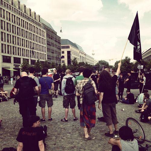 Berlin Pariser Platz Demonstrieren Demokratie