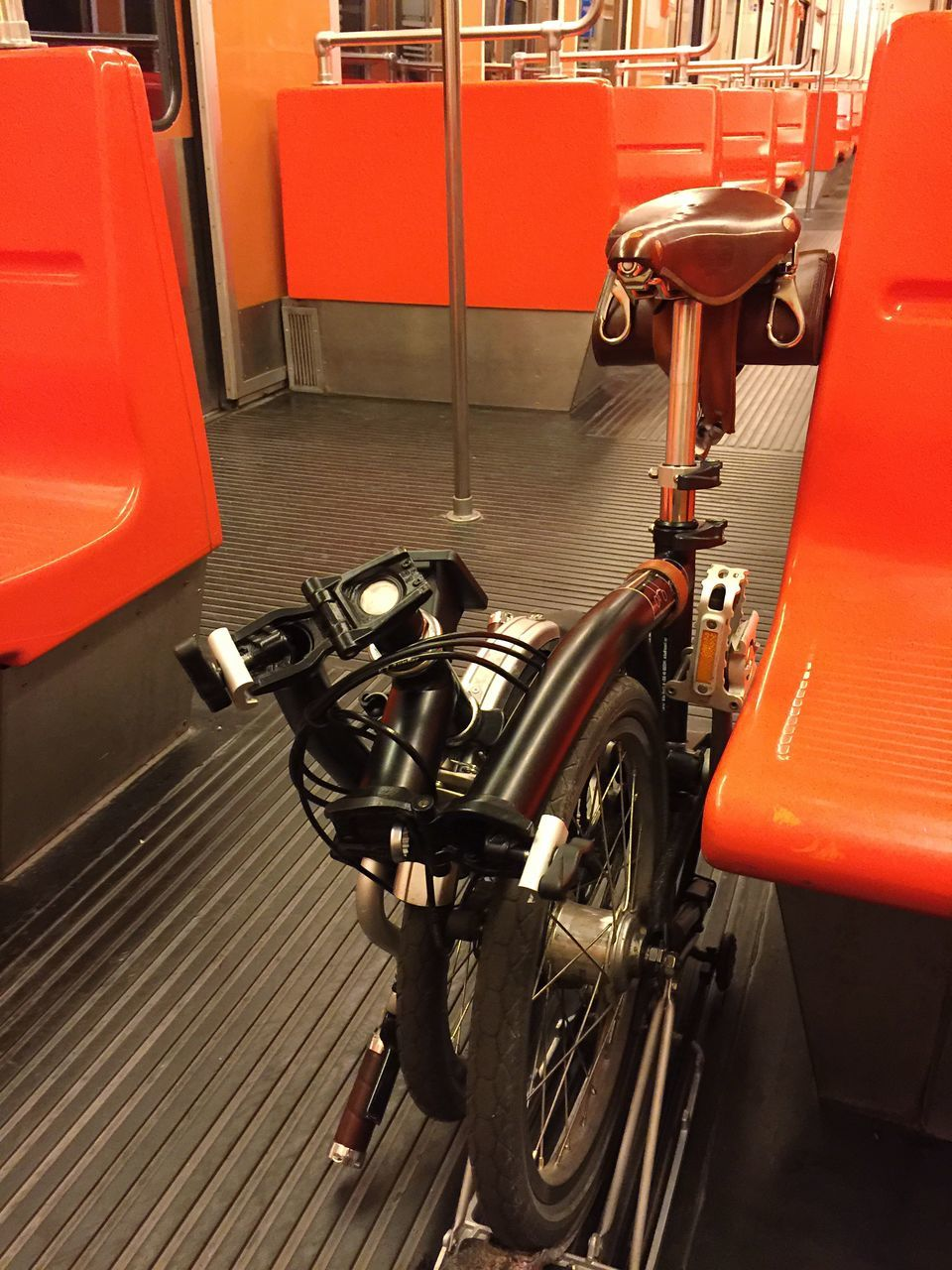 Folding Bicycle In Train