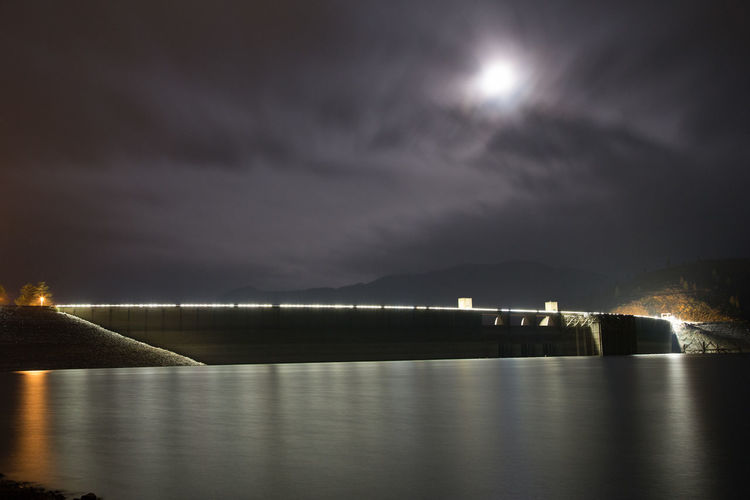 Bay Beauty In Nature Cloud - Sky Full Moon Glowing Illuminated Light Moon Moonlight Nature Night No People Reflection Scenics - Nature Sea Shasta Dam Sky Tranquil Scene Tranquility Water Waterfront