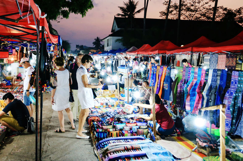 my holiday in Luangprabang night market Adult Business Buying City For Sale Group Of People Illuminated Lifestyles Market Stall Men Outdoors Real People Shopping Street Street Market Women