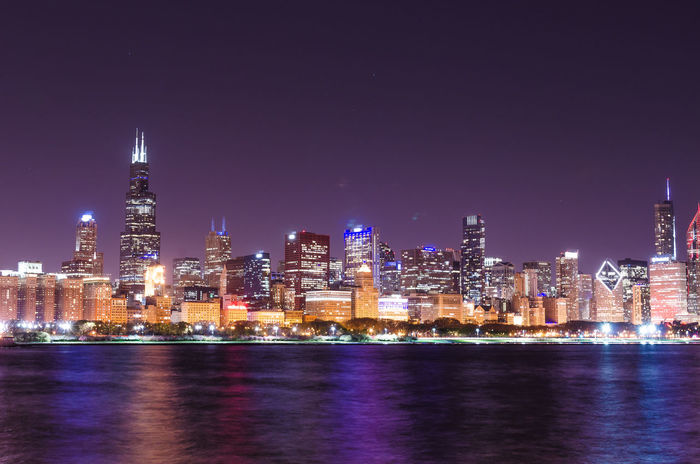 Architecture Building Exterior Built Structure Chicago Skyline Chicago ♥ City Cityscape Downtown District Illuminated Modern Night Night View Of Downtown No People Outdoors Sea Sky Skyscraper Travel Destinations Urban Skyline Water Waterfront