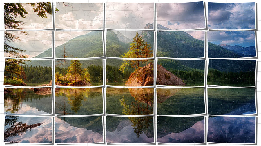 Plant Tree Nature No People Beauty In Nature Day Scenics - Nature Cloud - Sky Digital Composite Sky Tranquil Scene Tranquility Landscape Outdoors Environment Land Mountain Forest Growth Glass - Material Change Big Picture Puzzle  Puzzles