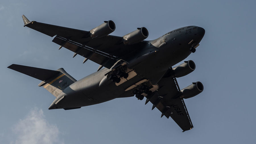 Globemaster of Indian Air force India Indian Army Lockheed Martin C-130 Hercules Lockheed Martin Air Vehicle Flying Clear Sky Air Force Outdoors Mid-air Low Angle View Transportation No People Military Airplane Aerospace Industry Airplane Military Fighter Plane Sky Day
