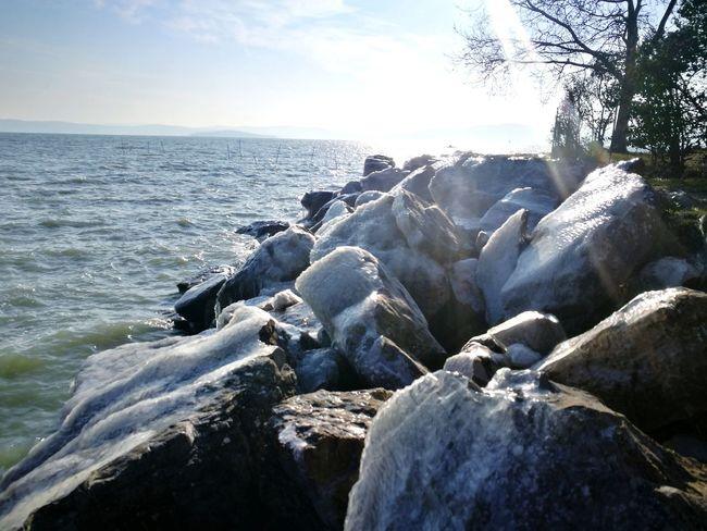 Lake Ice Winter Cold Temperature Rock - Object Beach Water Nature Outdoors Beauty In Nature Sunlight Scenics Sky Day No People Horizon Over Water