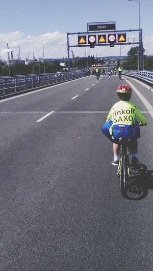 Adventure Club Cyclist Young Cyclist Street City Rear View Day Gdansk Pomorskie Poland Sport