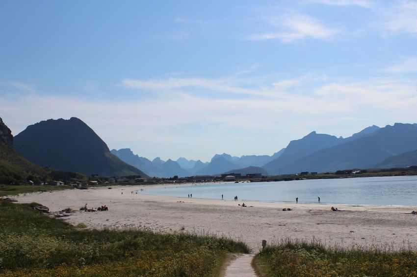 Lofoten Lofoten Rambergstranden Mountains Beach Nothern Norway Norway Holiday Summer Roadtrip Check This Out EyeEm Nature Naturelovers EyeEm Best Shots - Nature Authentic Moments Relaxing Travel Tourism Postcard Sand