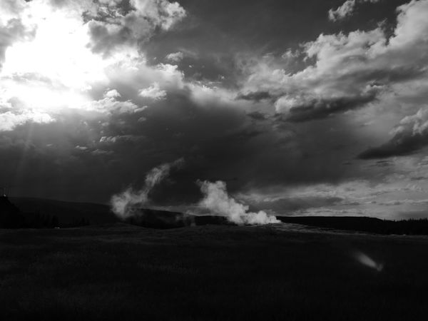 Black And White Sky Old Faithful Area Steam Yellowstone National Park Black And White Blackandwhite Geyser Geyser Black And White Geyser Field Old Faithful Old Faithful Geyser Skyscape
