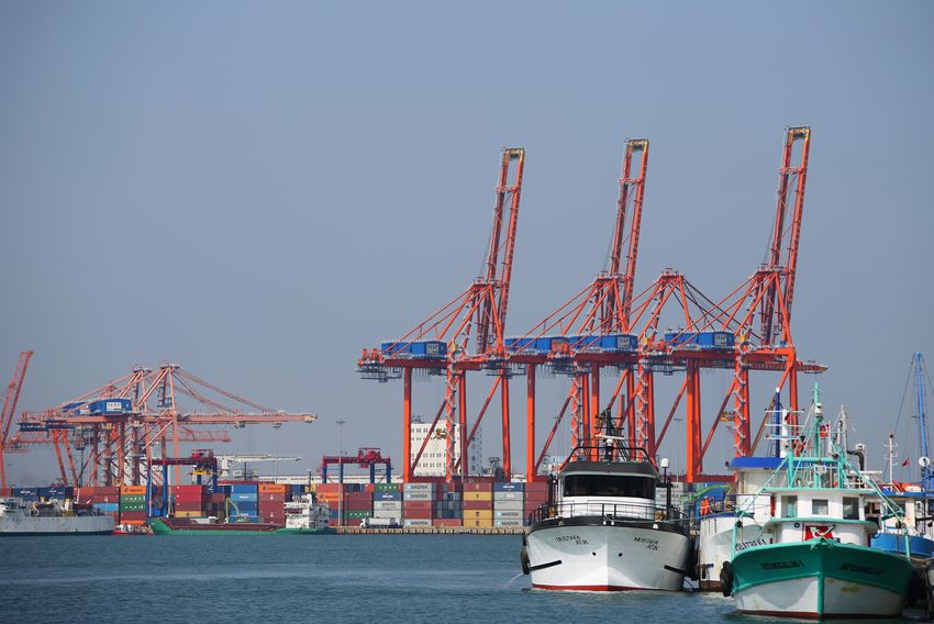 Mersin port Crane - Construction Machinery Transportation Sky Machinery Architecture Water Industry Mode Of Transportation Freight Transportation Nature Clear Sky Pier No People Commercial Dock Built Structure Development Harbor Nautical Vessel Construction Industry Shipping