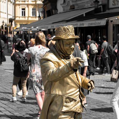 Goldenman is pointing you Goldman Golden City Crowd Women Riot Men Street Architecture City Street