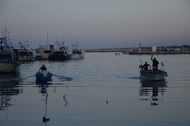Boats Day Fisherman Fishing Fishing Boat Italy Men Mode Of Transport Mola Di Bari Nature Nautical Vessel One Person Outdoors People Puglia Reflection Sky Sunset Transportation Water
