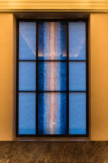View of blue window