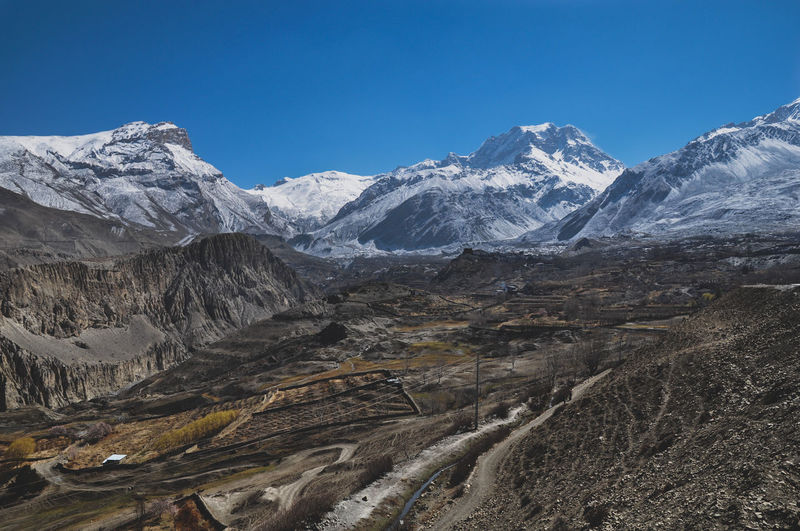 Nepal Annapurna Conservation Area Travel Destinations Travel Trekking Village Landscape Rural Scene Mountain Snow Cold Temperature Winter Snowcapped Mountain Mountain Peak Blue Landscape