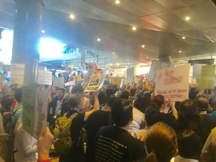 LAX Lax Protest Not My President Love Thy Neighbor Large Group Of People Crowd Real People Love Trumps Hate NOTMYPRESIDENT Muslims Are Not Terrorist Impeach Trump Muslims Are Welcome Los Angeles International Airport