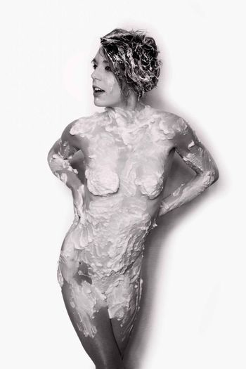 Photo from my last shoot I did last Wednesday with Manz Plano. Shower theme but with some shaving cream lol. Studio Shot White Background One Person Beauty Fashion Model One Woman Only Adult Beautiful Woman Young Adult Indoors  Dallastx Art LoveForArt Nude_model Nudeartphotography Nudeblackandwhite Implied