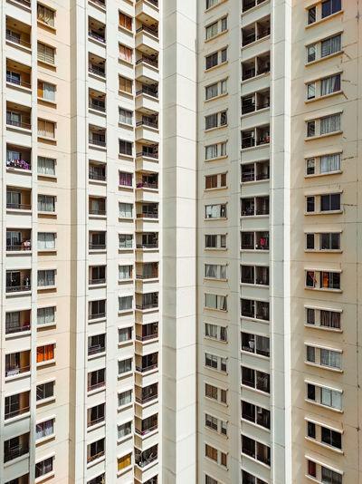 A satisfying symmetrical exterior row of an apartment