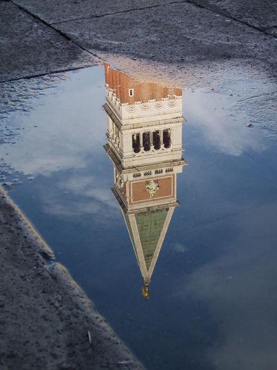 180 Grad Architecture City Clock Tower Cloud - Sky Day Markusplatz Outdoors Pfütze Reflection Sky Spiegelung Standing Water Water