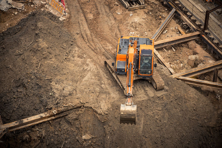 High angle view of excavator construction site