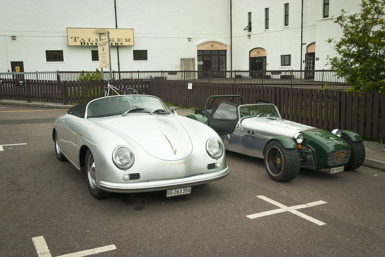 Vintage Sports Cars outside Talisker Distillery on Skye Building Exterior Built Structure Car Day Land Vehicle Lotus Lotus 7 Mode Of Transport No People Outdoors Porsche Racecar Skye Sports Race Spyder Stationary Talisker Talisker Distillery Transportation Vintage Vintage Car Whisky