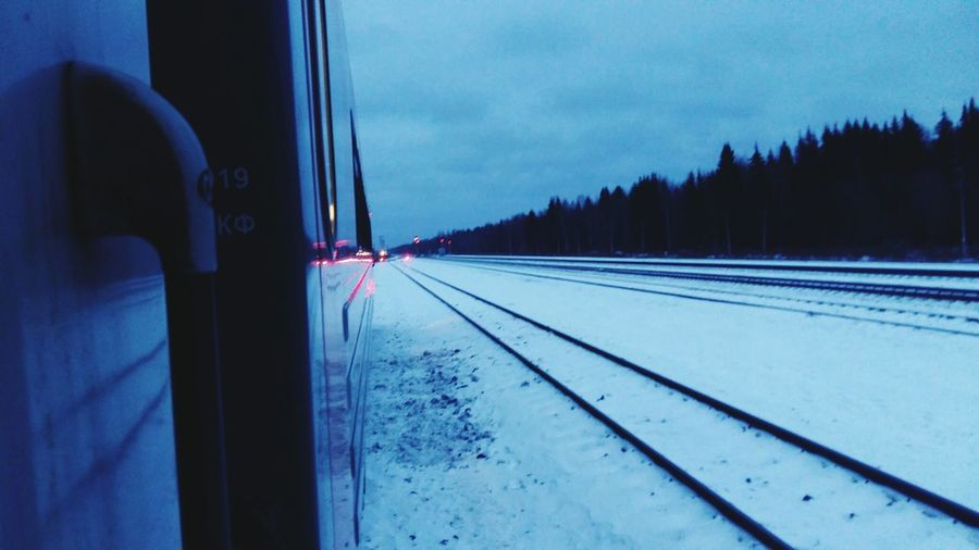 Somewhere. between the center and the north РЖД Дорога Tree Snow Cold Temperature Winter Train - Vehicle Car Rail Transportation Sky Passenger Train Railway Signal