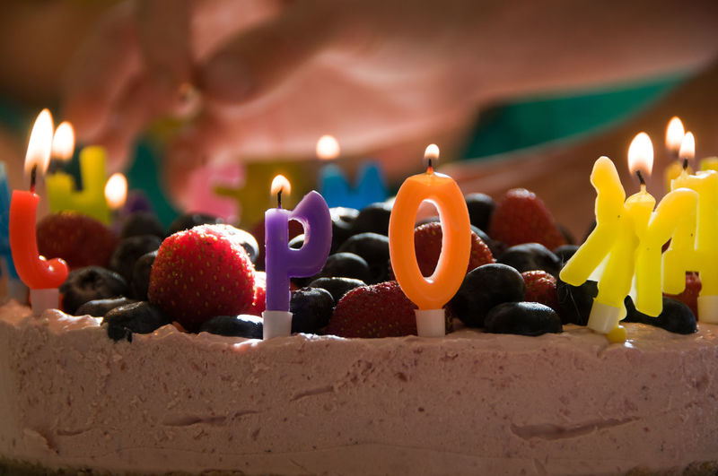 Close-up of candles on birthday cake