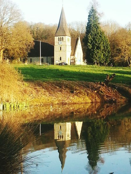 Taking Photos Symmetry Pond Church My Fishing Spot Reflection