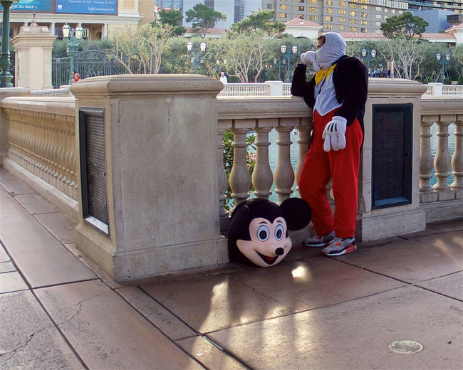 Headless Actor Adult Child Costume Day Full Length Las Vegas Strip   Mickey Mouse One Person Outdoors People Street Vendor
