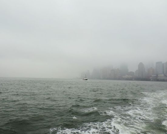 NY Newyork Ellis Island  Ferryboat USA Winter Rainy Day Fog