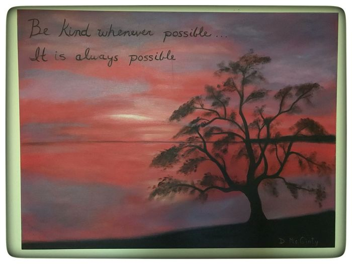 Kindness Is My Religion Good Omen In The Apartment We've Rented While We Look For A Home In North Carolina By D. McGinty A Painting  Sky Sunset Nature Cloud - Sky Outdoors Tree Landscape