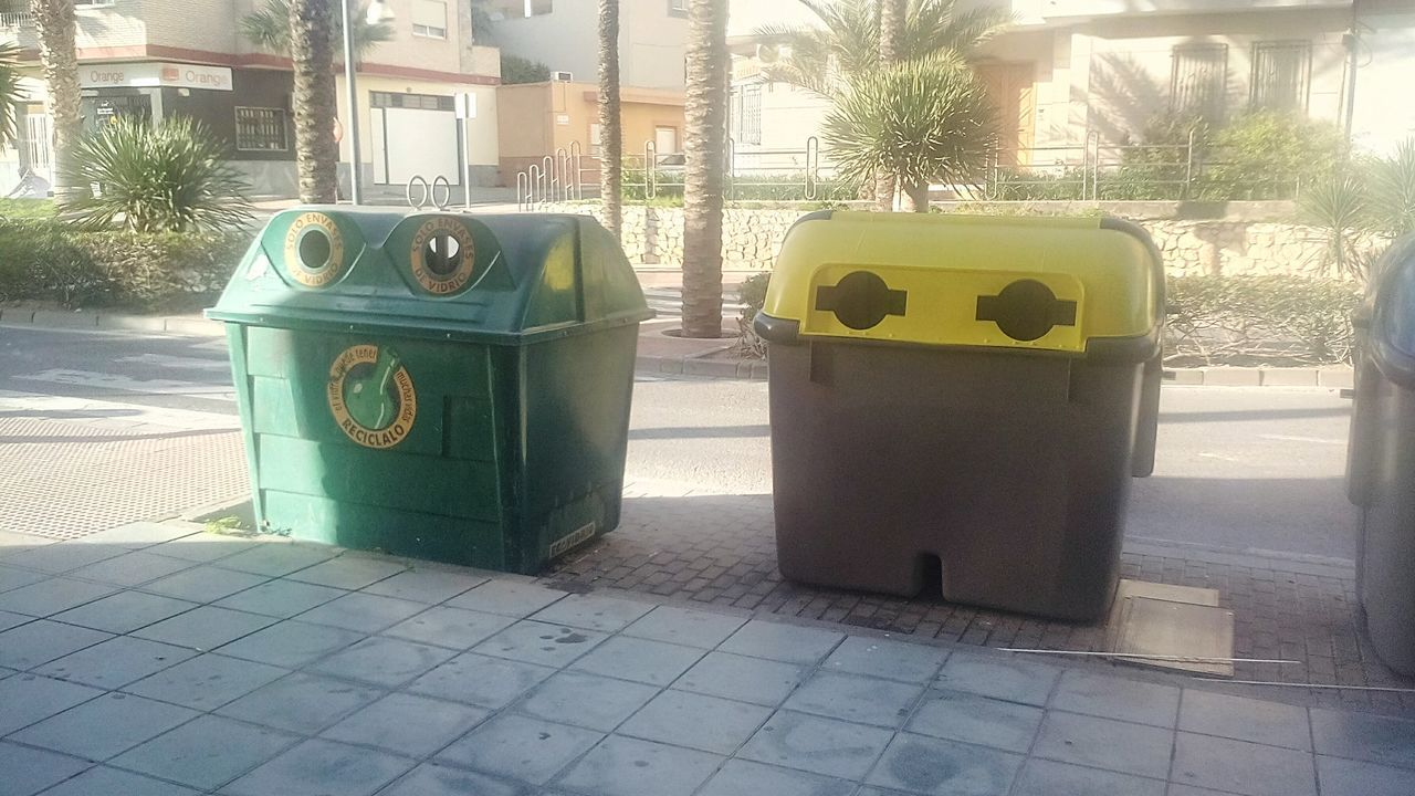 garbage can, tree, environmental issues, day, green color, garbage, outdoors, no people, sunlight, built structure, architecture, city