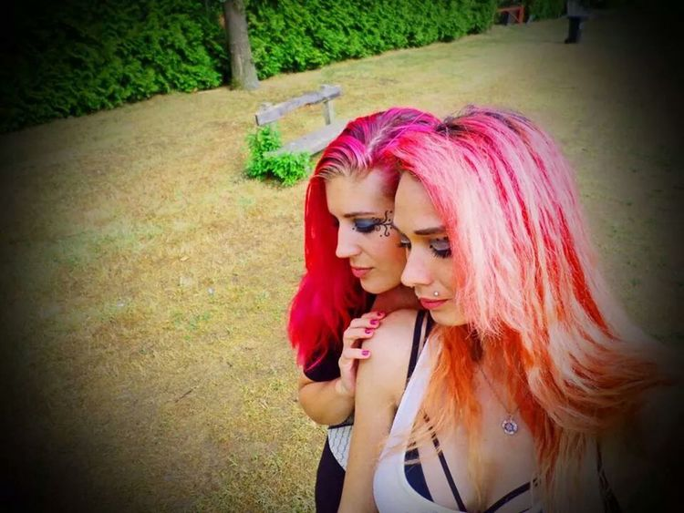 Funmodeling with a friend 1 year ago.. Modeling Pink Hair Duo Shoot Funky/punk