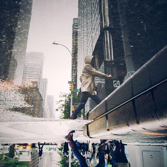 Under the rain @vsco Vscocamandroid @oneplustech Onepluslife NeverSettle Social newyork nyc rain hood street streetphotography reflexion water walk